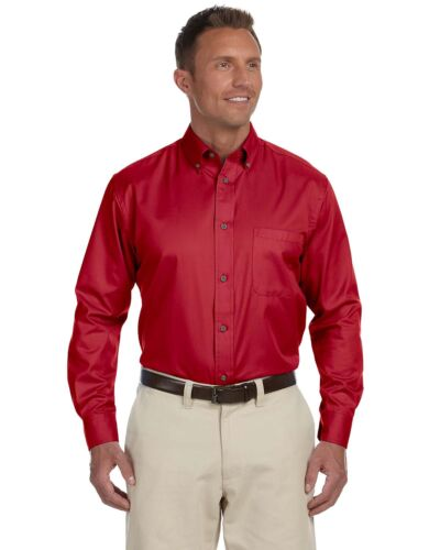 Harriton Men/'s Easy Blend Long-Sleeve Twill Shirt with Stain-Release XS-6XL M500