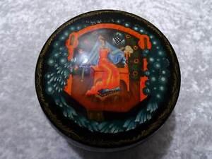 Caja-de-Metal-Rusia-Udssr-Union-Sovietica-Pintado-a-Mano-Vintage-Dornroschen