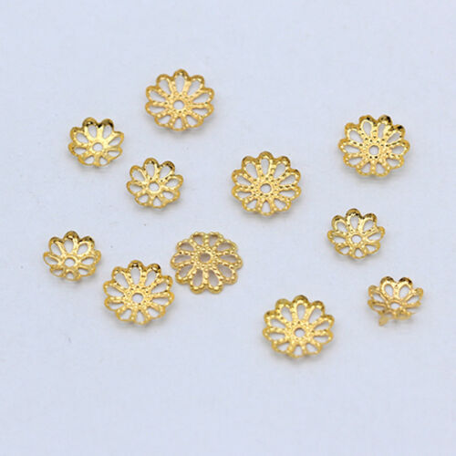 500p Creux Fleur Métal En Filigrane Charms Spacer Bead Cap Beaded Jewelry Findings