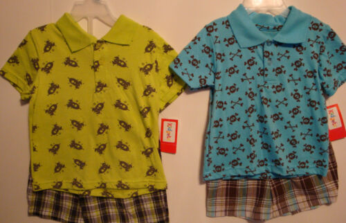 INFANT//TODDLER  POLO /& PLAID SHORTS SET SKULL BONES OR SPACESHIPS SZ 12MOS-4T
