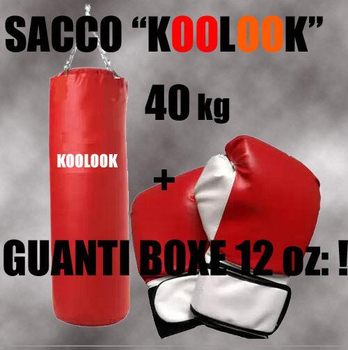 SACCO BOXE  40 KG ROSSO 100x34 CM  GUANTI DA BOXE ROSSI 12 OZ