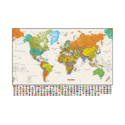 Map Of The World Flags HD Print Wall Poster Home Decoration Unframed Rc293