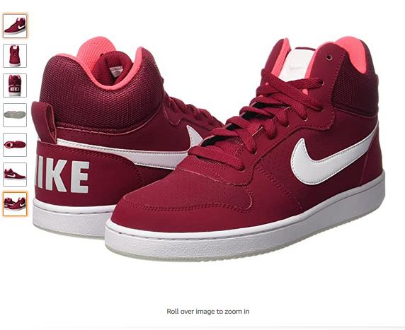 Nike Court Borough Mi Fitness Chaussure sur la cheville rouge (Noble rouge blanc