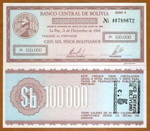 Bolivia UNC 10 centavos on 100,000 Pesos 1987 P-197