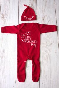 MY FIRST VALENTINE'S DAY SLEEPSUIT & HAT PERSONALISED BABYGRO ROMPER GIFT IDEA