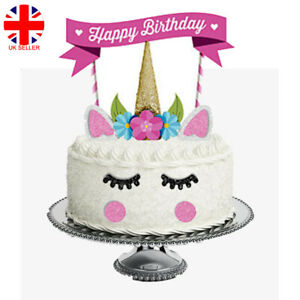 Super 11X Glitter Unicorn Happy Birthday Cake Topper Banner Decoration Funny Birthday Cards Online Eattedamsfinfo