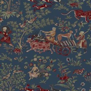 Wallpaper-Kismet-Cashmere-Far-East-Asian-Toile-Navy-Tan-Red-Green-Metallic-Gold