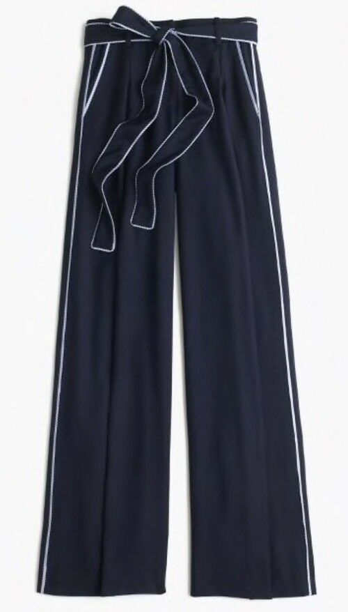 NWT JCrew forNET-A-PORTER wide-leg pant-with striped piping Size4 F6719 In Navy