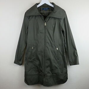Cole haan single breasted metallic raincoat w drawstring details