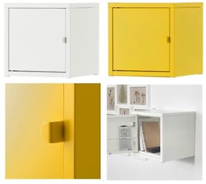 ikea lixhult mini cabinet cupboard home office storage living metal white yellow ebay. Black Bedroom Furniture Sets. Home Design Ideas