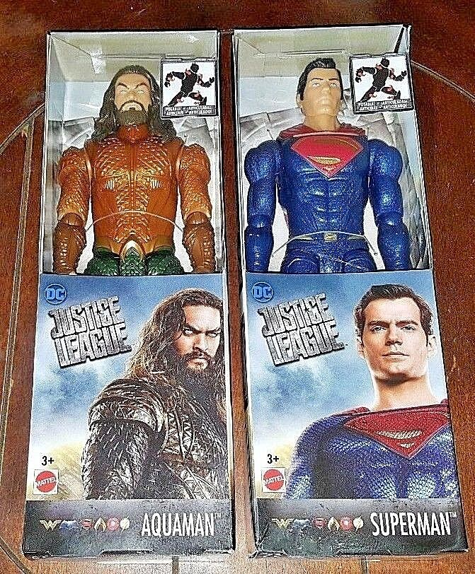 2 neue dc gerechtigkeitsliga aquaman & superman posable actionfiguren.