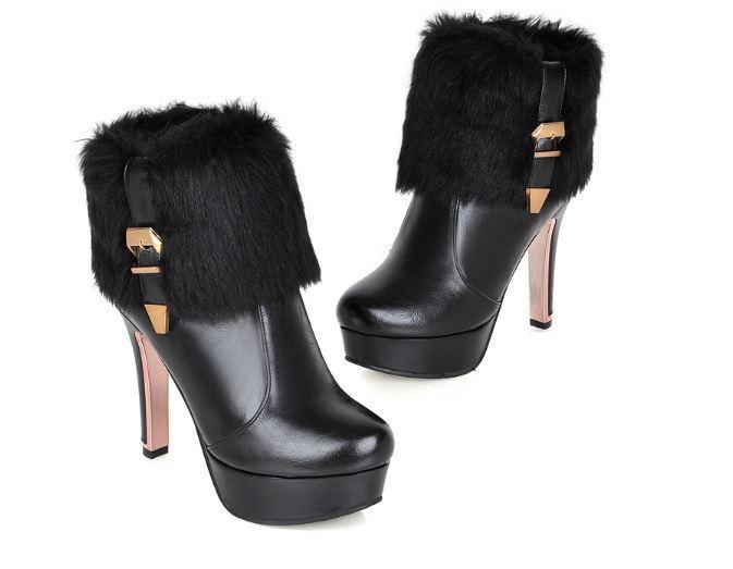 prezzi bassi Stivali stivaletti stiletto scarpe donna tacco 12.5 nero nero nero pelo simil pelle 8253  economico