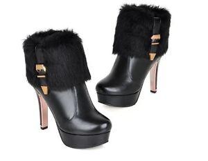 Noir Femmes 5 Aiguilles 12 Talons Talon Chaussures Pour Bottes Polaire Laine qaP1Cw