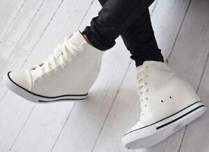 Details zu Damenschuhe Sneaker Keilabsatz Wedges Hidden Stiefeletten Leder Optik NEU+++))