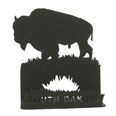 Buffalo Bison Black Metal Business Card Holder