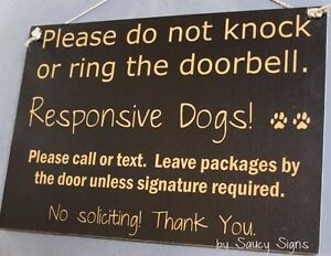Black-Do-Not-Knock-Ring-Doorbell-Responsive-Dogs-Warning-Sign-No-Soliciting