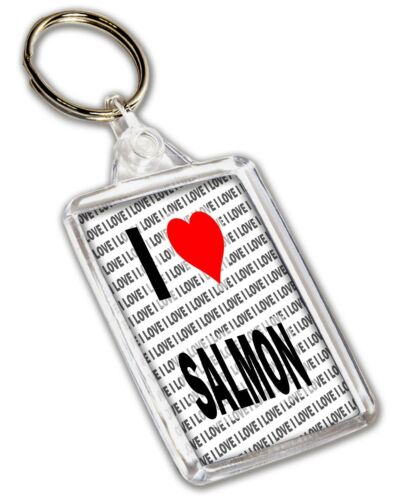 Christmas Birthday I Love Salmon Keyring Gift Stocking Filler