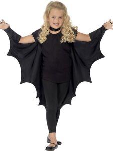 Dettagli su Bambine Bambini Bimbi Child's Nero Pipistrello Vampiro Halloween Costume Vestito