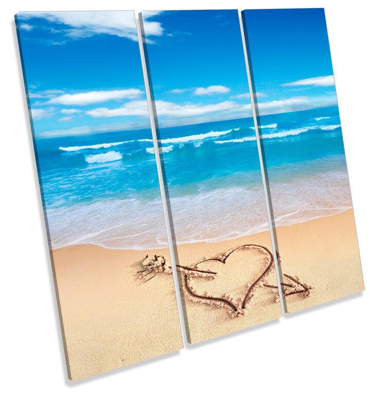 Beach Amore Cuore Sabbia TREBLE TELA Wall Art Quadrato foto stampa
