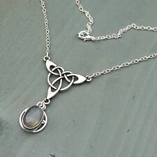 Celtic Triquetra Labradorite Secret Hidden Pentagram Necklace Wicca Pagan Witch