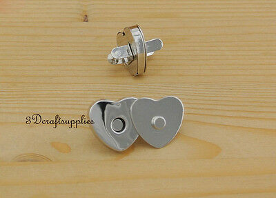 Magnetic Snaps bag button purse Magnetic Snaps button 20 pcs Heart nickel F29