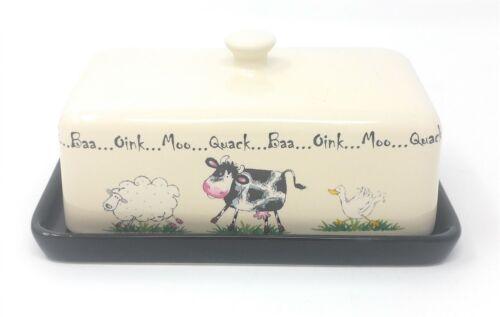 Mouton Vache Canard Crème Noir Grès Beurrier 18 cm x 11 cm