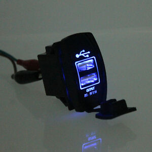 universal blue led backlit car motorcycle dash dual usb. Black Bedroom Furniture Sets. Home Design Ideas