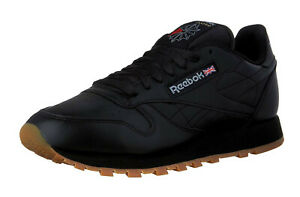 Reebok-Classic-Leather-Black-Gum-Mens-Running-Trainers-Tennis-Shoes-49798