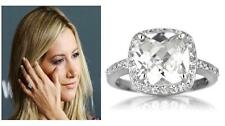 4 TCW .925 Silver Cushion Cut Halo CZ Wedding Engagement Cocktail Ring Size 9