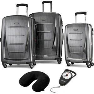 Samsonite-Winfield-2-Fashion-Hardside-3Pcs-Spinner-Set-Charcoal-Pillow-amp-Scale