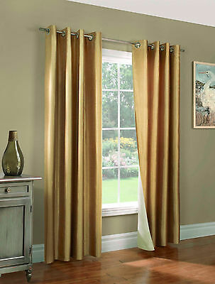 2 PANELS GOLD SILK NOT SEE THROUGH OPAQUE BLACKOUT GROMMET WINDOW CURTAIN K32