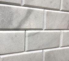 Gray Carrara 3x6 Honed Beveled Marble Tile Backsplash Wall(SOLD PER SQUARE-FOOT)