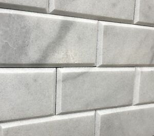 Gray Carrara 3x6 Honed Beveled Subway Marble Tile Kitchen