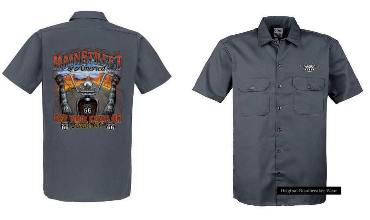 Worker Shirt Grey Vintage HD Biker Chopper & OLDSCHOOL Motif Model Mainstreet of