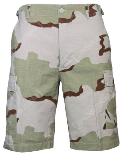 Cotton RIPSTOP Combat Camouflage BDU Cargo Shorts in DESERT CAMO All Sizes