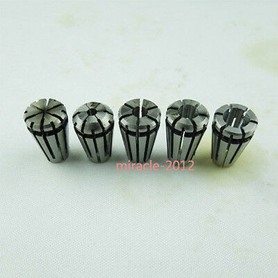 Vaorwne 10pcs ER8 Spring Collet 1mm to 5mm Precision Collet Chuck Kit for CNC Milling Machine Engraving Lathe Tool Sleeve Silver