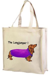 Cartoon Dachshund, The Long Jumper Cotton Shopping Bag - Choice of colour!