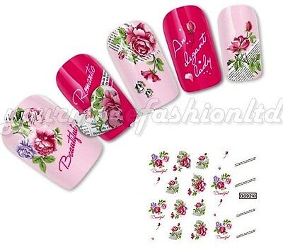NAIL ART WATER TRANSFERS STICKERS DECALS RED/PURPLE FLOWERS (C52)