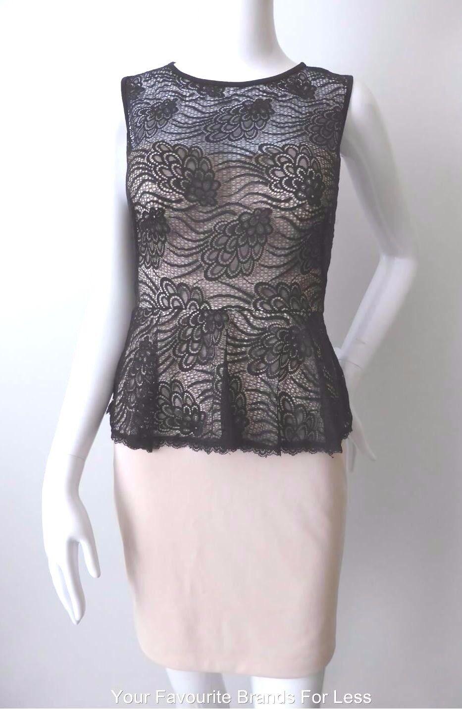 FEVER Size 8  US 4 Dress  Sleeveless Short Peplum Bodycon