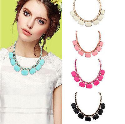 Fashion Women Jewelry Crystal Chunky Statement Chain Pendant Choker Bib Necklace