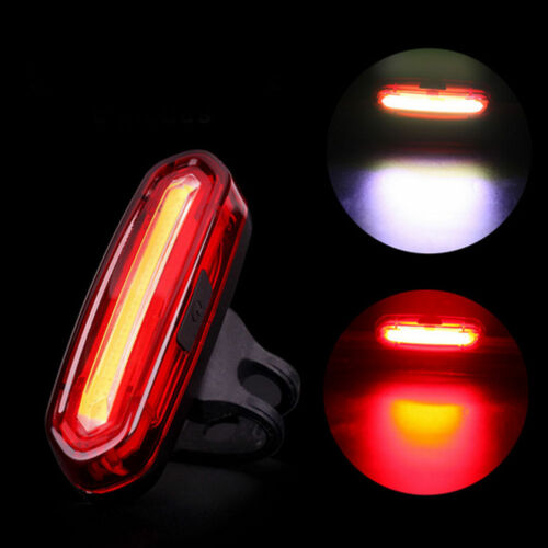 COB LED Bicycle Bike Cycling Front Rear Tail Light USB Rechargeable 6 Modes Lamp