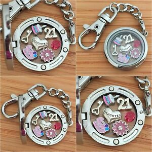 Image Is Loading 18th 21st Birthday Gift Floating Memory Locket Keyring