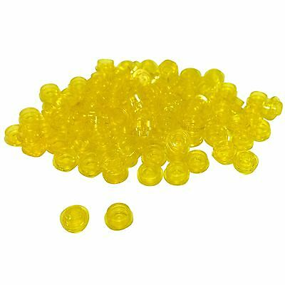 Lego TRANS YELLOW 1x1 PLATE ROUND New 4073 Lot of 100