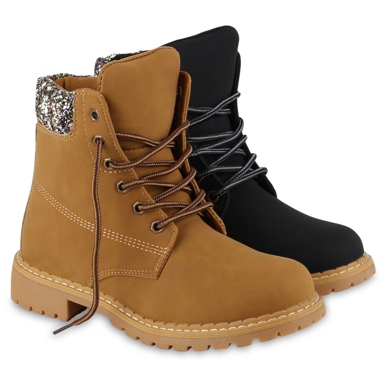 Damen Worker Boots Outdoor Stiefeletten Glitzer Profil Sohle 812629 Schuhe
