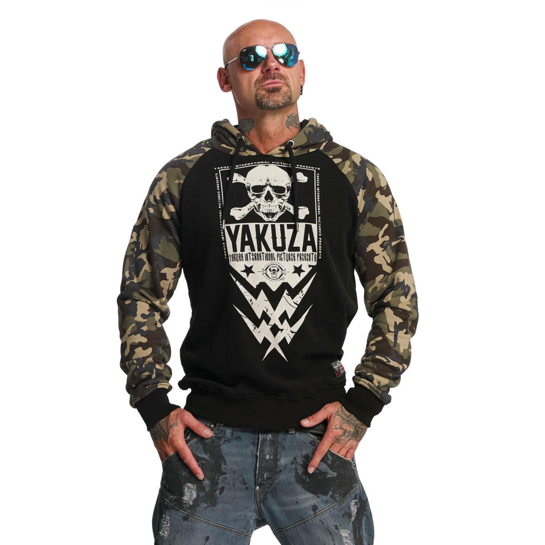 YAKUZA - Herren Hoodie HOB 11002  Skull Two Face  schwarz (schwarz camouflage)