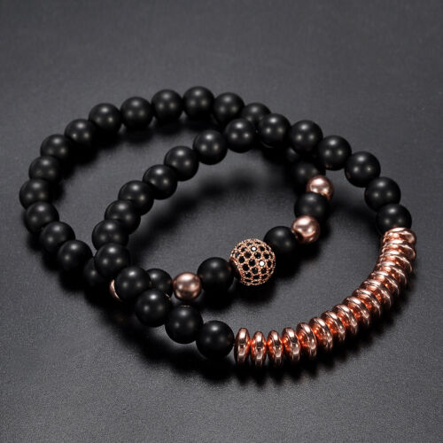 2Pcs//Set Men Fashion Natural Stone Matte Copper Bead Bracelets Jewelry Gifts