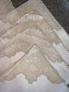 EXQUISITE-SET-OF-8-ANTIQUE-FRENCH-ALENCON-LACE-amp-Linen-NAPKINS-Ecru-Beige-17