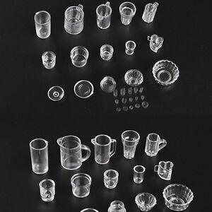 15pcs/Set Mini Transparent Drink Cups Dish Plate Tableware Miniatures KW PL