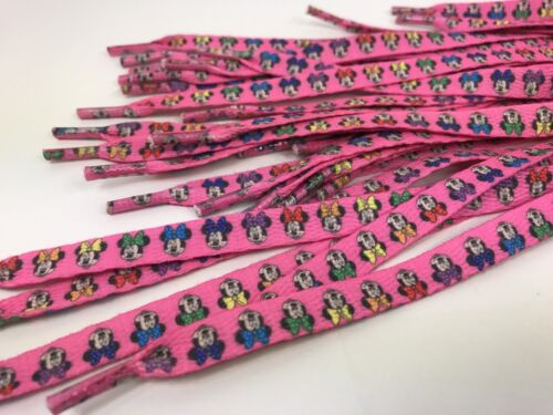 1 Set Of Girls Ladies Double Sided Pink Minnie Mouse Shoelaces 42 Inch Lisa