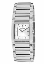 JACQUES LEMANS Women's Stainless Steel Silver-Tone Rectangle Dial Watch